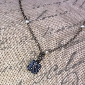 """Jewelry - """"R"""" monogram necklace sterling silver."""